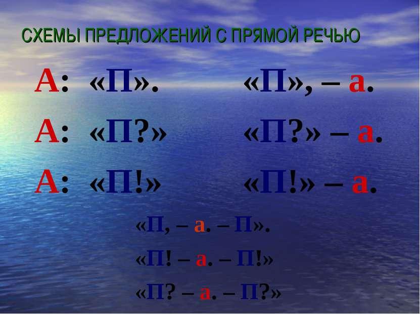 СХЕМЫ ПРЕДЛОЖЕНИЙ С ПРЯМОЙ РЕЧЬЮ А: «П». А: «П?» А: «П!» «П», – а. «П?» – а. ...
