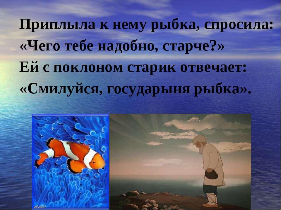 Приплыла к нему рыбка, спросила: «Чего тебе надобно, старче?» Ей с поклоном с...