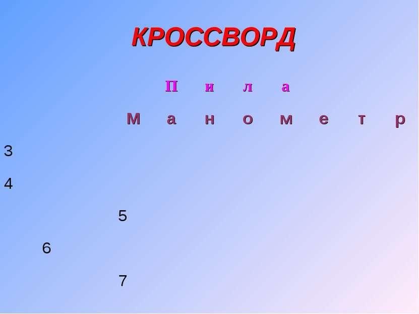 КРОССВОРД П и л а М а н о м е т р 3 4 5 6 7