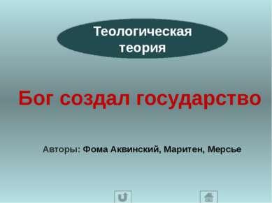 Теологическая теория Бог создал государство Авторы: Фома Аквинский, Маритен, ...