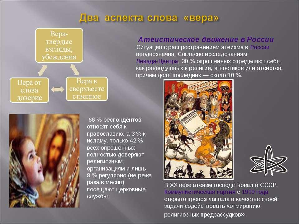 Атеистическое движение в России Ситуация с распространением атеизма в России ...