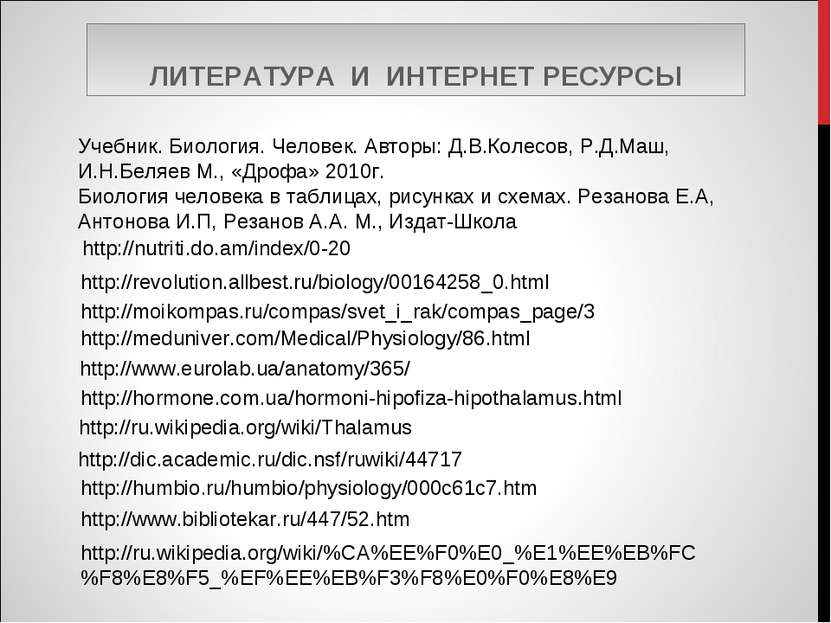 ЛИТЕРАТУРА И ИНТЕРНЕТ РЕСУРСЫ http://humbio.ru/humbio/physiology/000c61c7.htm...