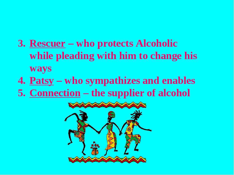 Rescuer – who protects Alcoholic while pleading with him to change his ways P...