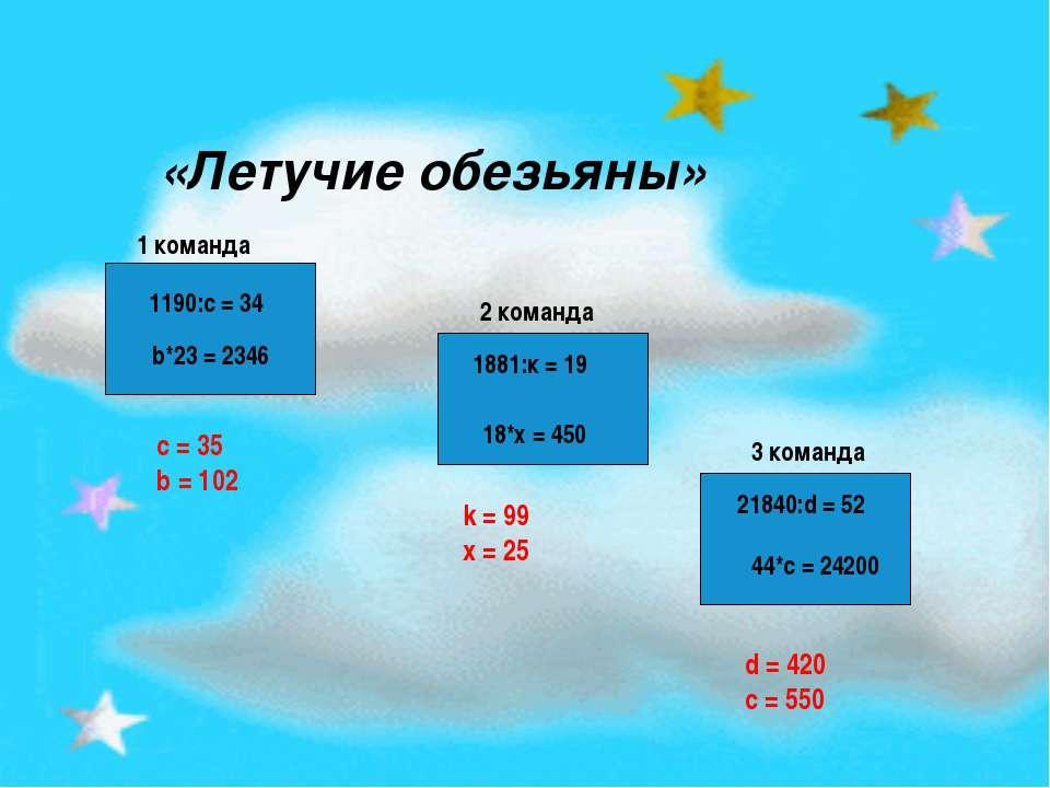 1190:с = 34 b*23 = 2346 1881:к = 19 18*х = 450 21840:d = 52 44*с = 24200 «Лет...