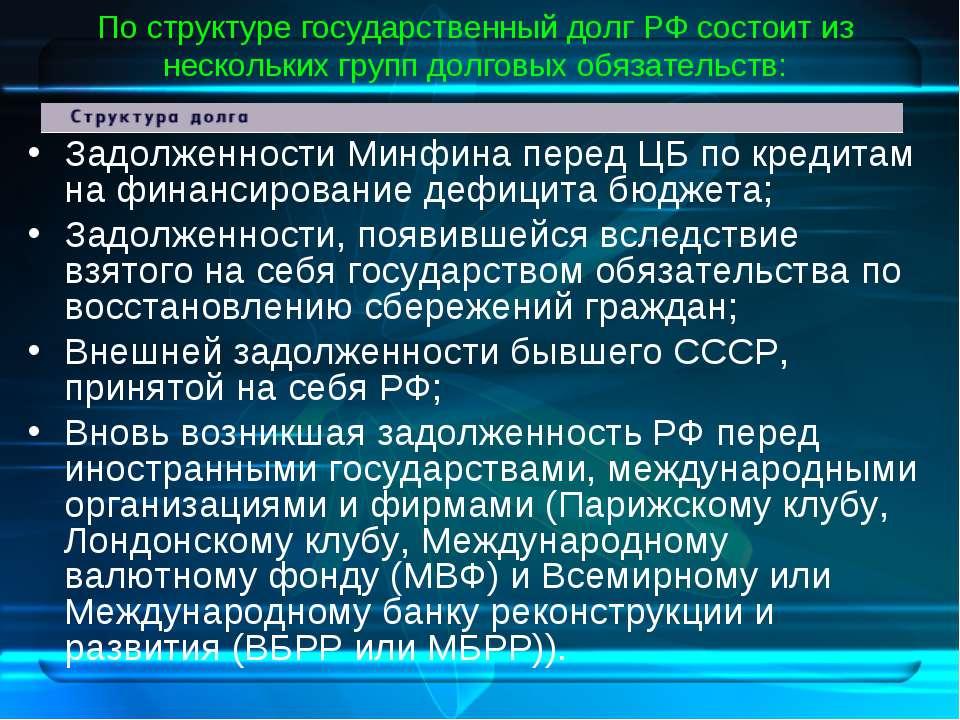 По структуре государственный долг РФ состоит из нескольких групп долговых обя...