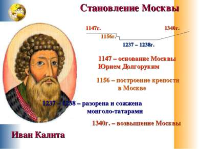 1147г. 1156г. 1237 – 1238г. 1340г. 1147 – основание Москвы Юрием Долгоруким 1...