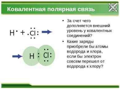Ковалентная полярная связь За счет чего дополняется внешний уровень у ковален...