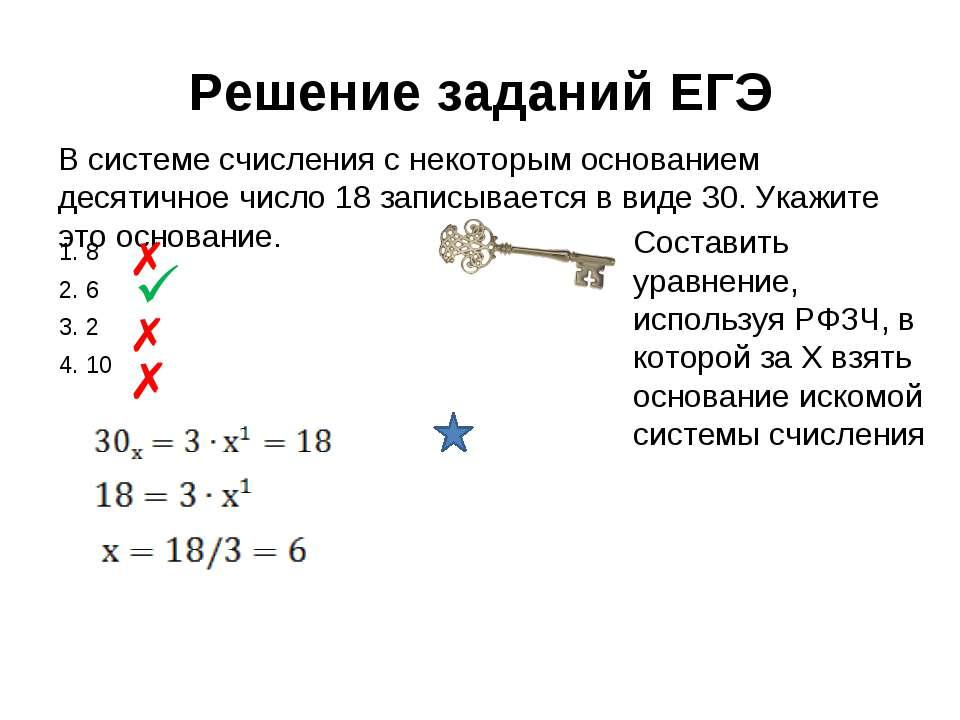 Решение заданий ЕГЭ В системе счисления с некоторым основанием десятичное чис...