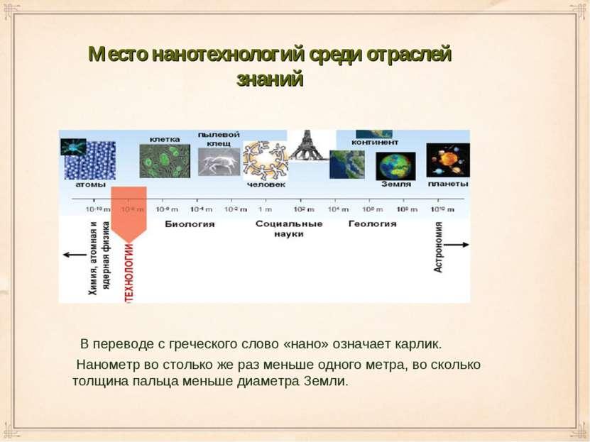 Место нанотехнологий среди отраслей знаний В переводе с греческого слово «нан...