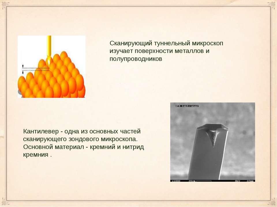 Сканирующий туннельный микроскоп изучает поверхности металлов и полупроводник...