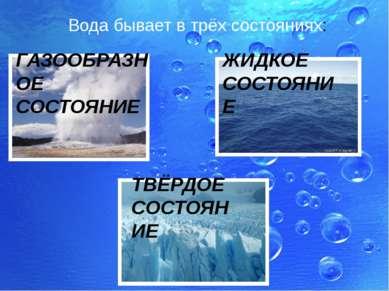 Вода бывает в трёх состояниях: ГАЗООБРАЗНОЕ СОСТОЯНИЕ ЖИДКОЕ СОСТОЯНИЕ ТВЁРДО...
