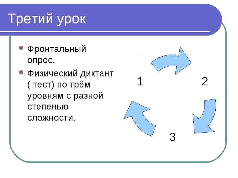 Третий урок Фронтальный опрос. Физический диктант ( тест) по трём уровням с р...