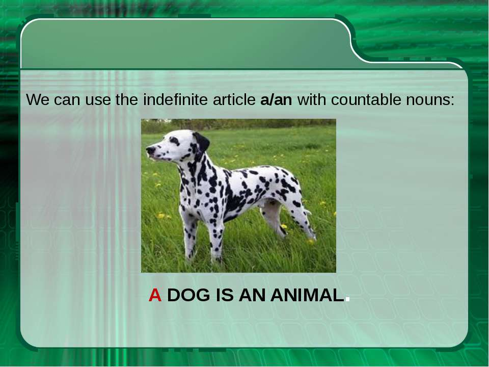 A DOG IS AN ANIMAL. We can use the indefinite article a/an with countable nouns: