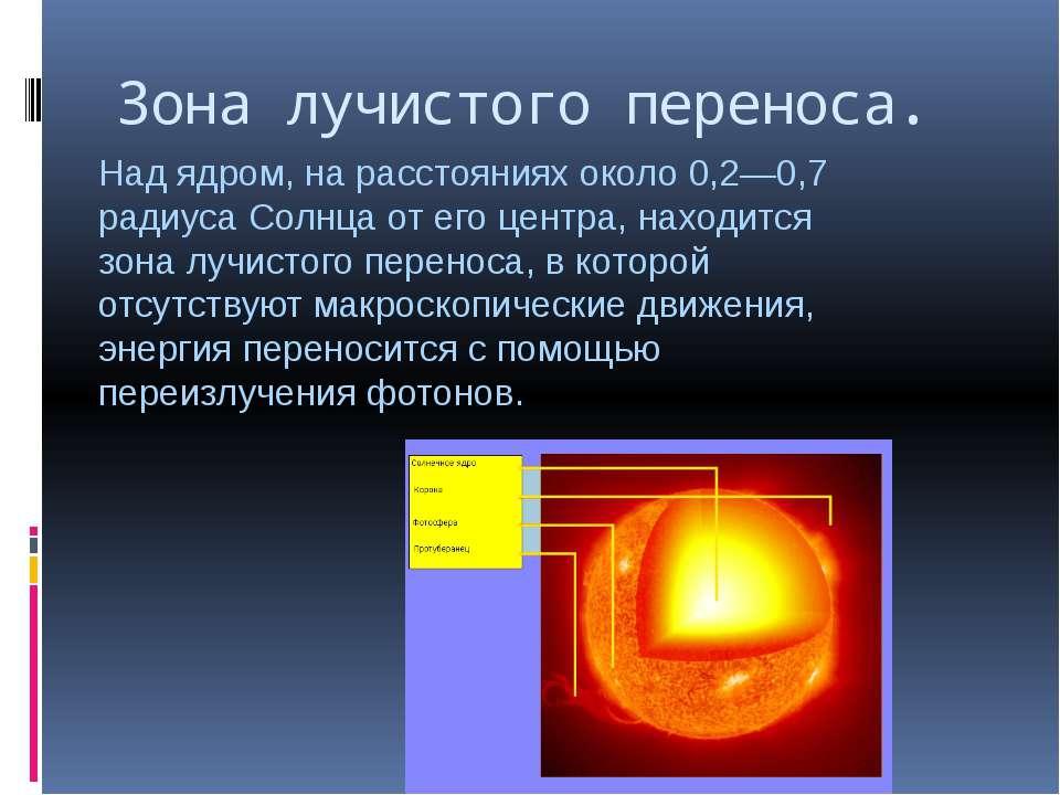 Зона лучистого переноса. Над ядром, на расстояниях около 0,2—0,7 радиуса Солн...