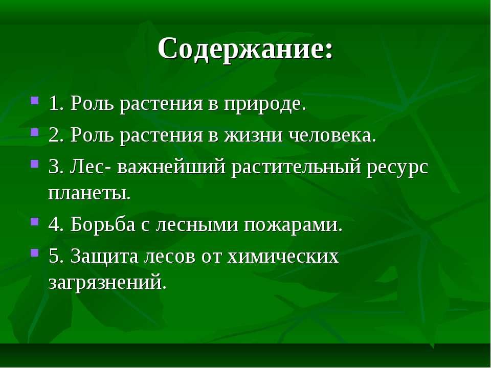 Содержание: 1. Роль растения в природе. 2. Роль растения в жизни человека. 3....