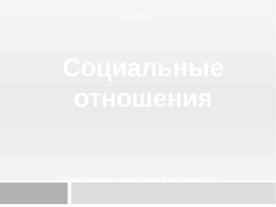ЕГЭ 2016 Социальные отношения Обществознание. Кодификатор вопросов ЕГЭ.