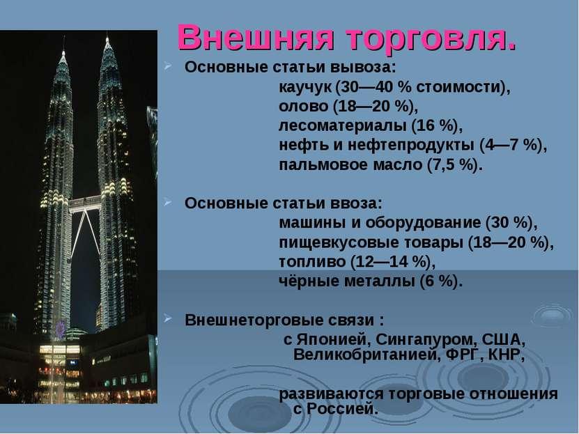 Внешняя торговля. Основные статьи вывоза: каучук (30—40 % стоимости), олово (...