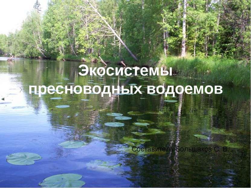 Экосистемы пресноводных водоемов Составитель Большаков С. В.