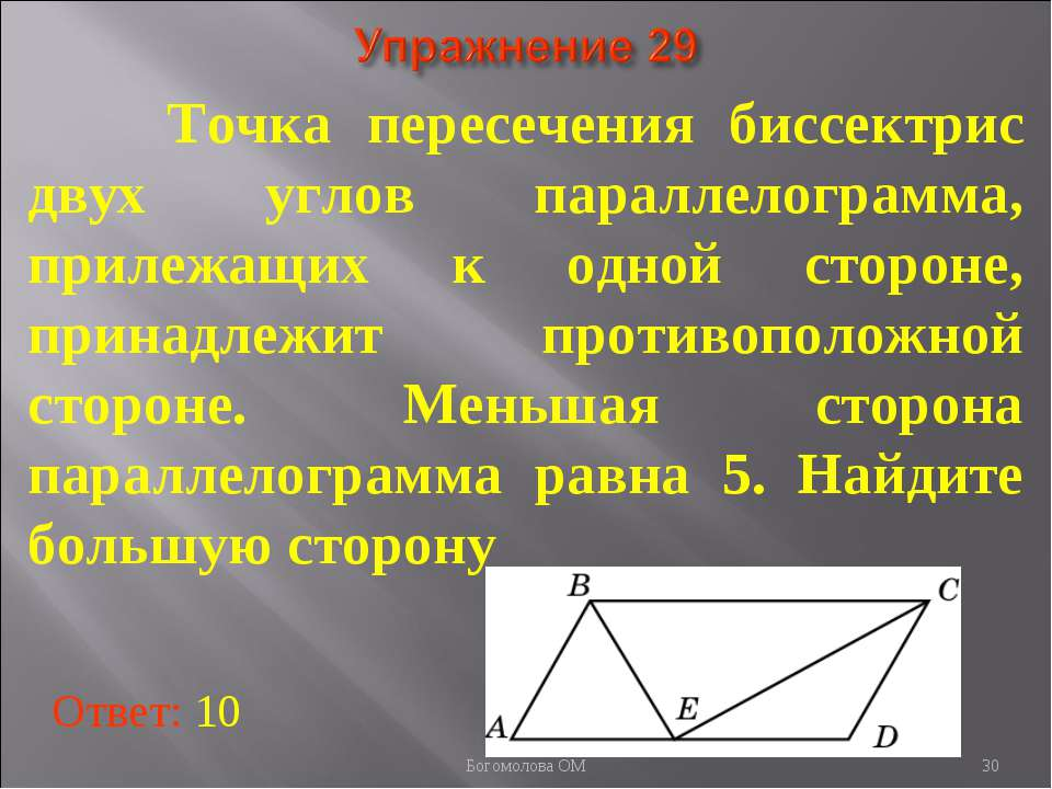 Точка пересечения биссектрис двух углов параллелограмма, прилежащих к одной с...