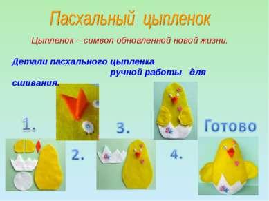 Детали пасхального цыпленка ручной работы для сшивания. Цыпленок – символ обн...