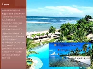 На большей части территории Индонезии климат экваториальны й, влажный, в отде...