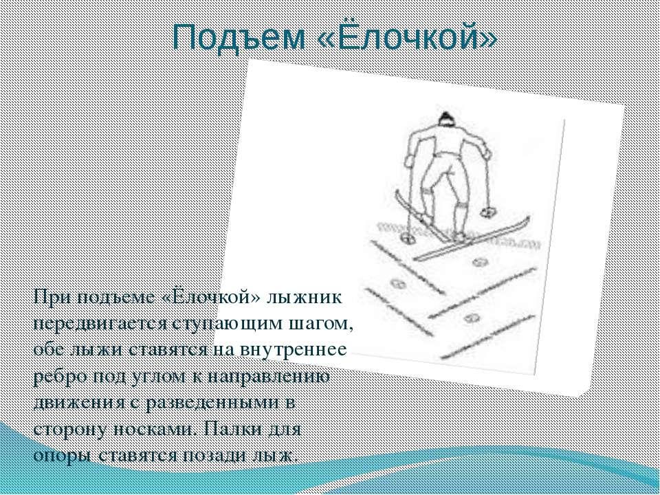 Подъем «Ёлочкой» При подъеме «Ёлочкой» лыжник передвигается ступающим шагом, ...