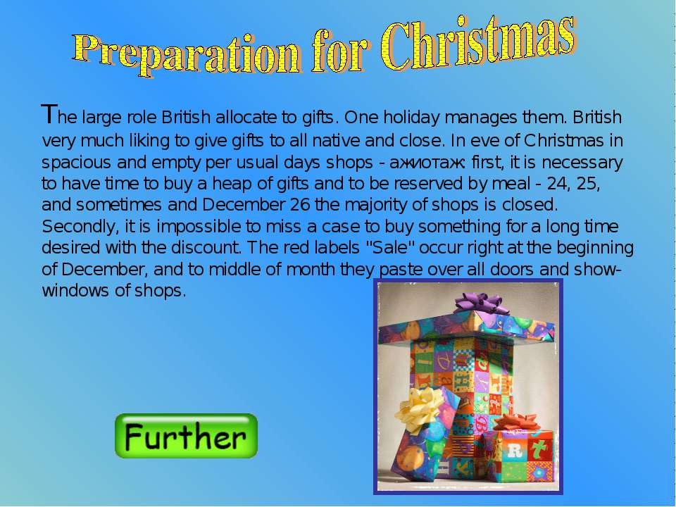 The large role British allocate to gifts. One holiday manages them. British v...