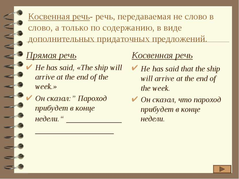 Косвенная речь- речь, передаваемая не слово в слово, а только по содержанию, ...