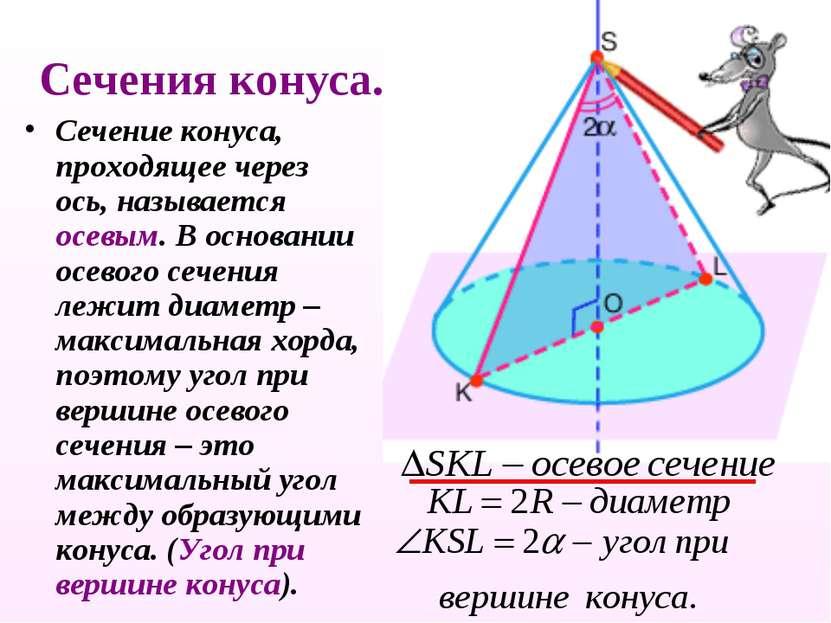 Сечения конуса. Сечение конуса, проходящее через ось, называется осевым. В ос...