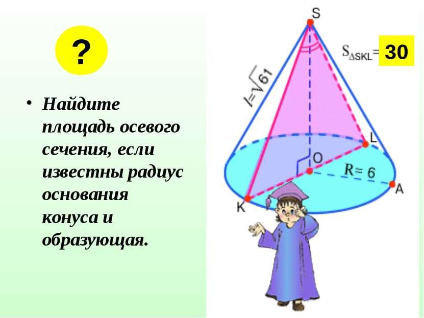 Найдите площадь осевого сечения, если известны радиус основания конуса и обра...