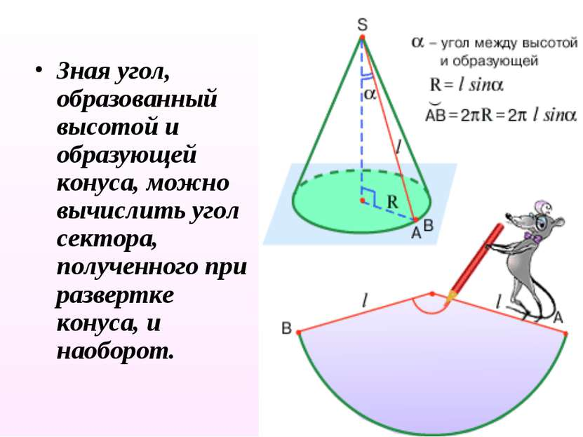 Зная угол, образованный высотой и образующей конуса, можно вычислить угол сек...