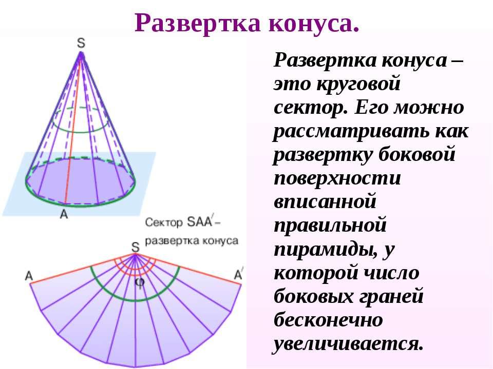 Развертка конуса. Развертка конуса – это круговой сектор. Его можно рассматри...