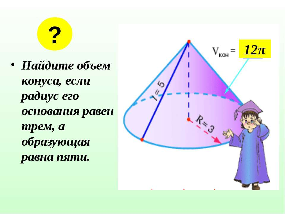 Найдите объем конуса, если радиус его основания равен трем, а образующая равн...