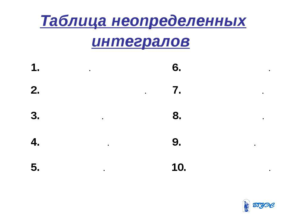 Таблица неопределенных интегралов