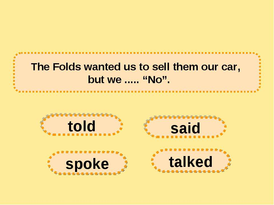 "The Folds wanted us to sell them our car, but we ..... ""No"".      told spoke ..."