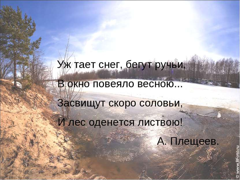 Уж тает снег, бегут ручьи, В окно повеяло весною... Засвищут скоро соловьи, И...