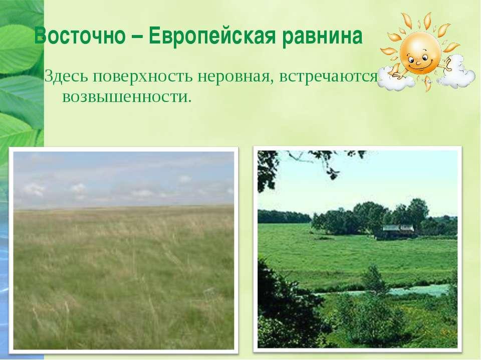 Восточно – Европейская равнина Здесь поверхность неровная, встречаются возвыш...