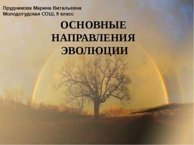 ОСНОВНЫЕ НАПРАВЛЕНИЯ ЭВОЛЮЦИИ Прудникова Марина Витальевна Молодотудская СОШ,...