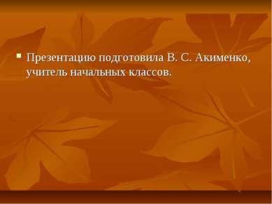 Презентацию подготовила В. С. Акименко, учитель начальных классов.