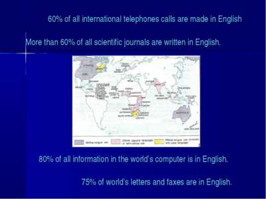 60% of all international telephones calls are made in English More than 60% o...