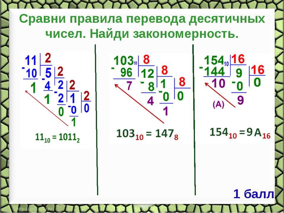 Сравни правила перевода десятичных чисел. Найди закономерность. 1 балл