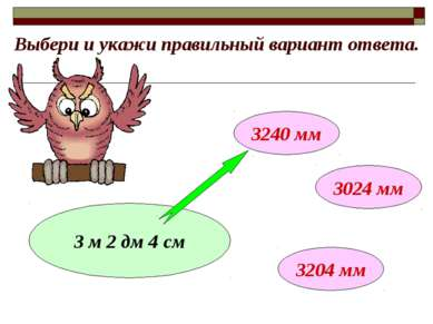 Выбери и укажи правильный вариант ответа. 3 м 2 дм 4 см 3240 мм 3024 мм 3204 мм