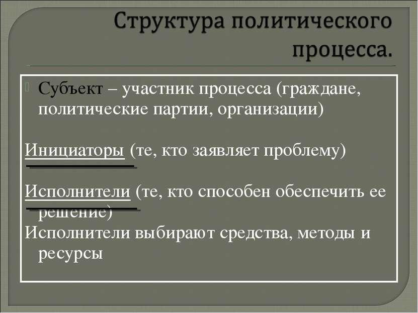 Субъект – участник процесса (граждане, политические партии, организации) Иниц...