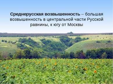 Среднерусская возвышенность – большая возвышенность в центральной части Русск...