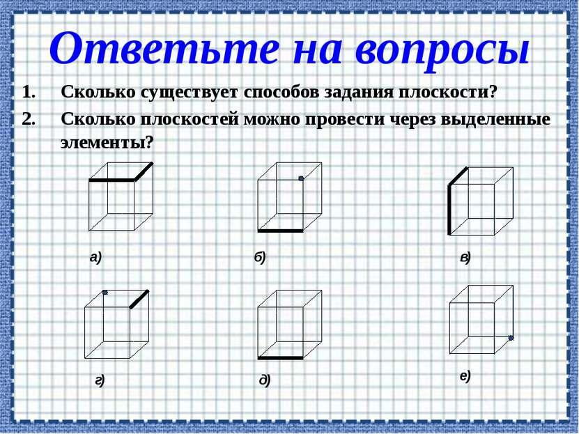 Сколько существует способов задания плоскости? Сколько плоскостей можно прове...