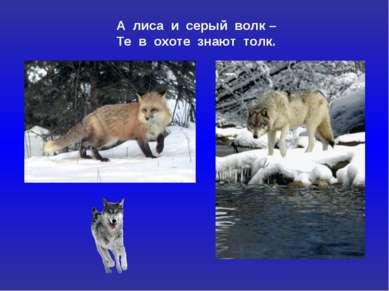 А лиса и серый волк – Те в охоте знают толк.
