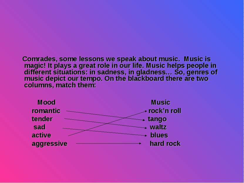 Comrades, some lessons we speak about music. Music is magic! It plays a great...