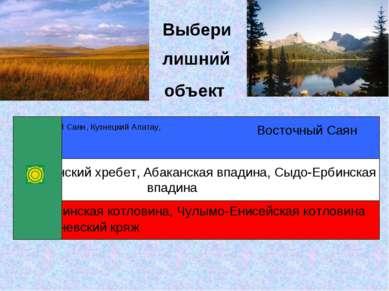 объект Выбери лишний Западный Саян, Кузнецкий Алатау, Абаканская впадина, Сыд...