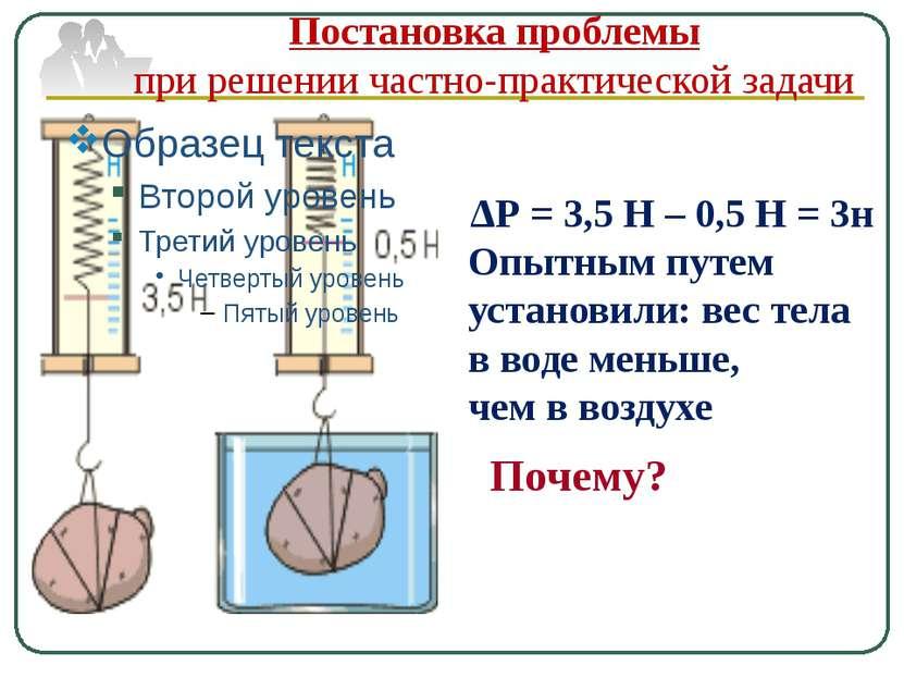 ΔР = 3,5 Н – 0,5 Н = 3н Опытным путем установили: вес тела в воде меньше, чем...