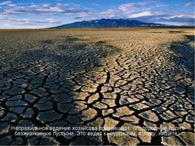 .Неправильное ведение хозяйства превращает плодородные поля в безжизненные пу...